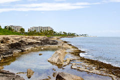 Ko'Olina Lagoon Rocks. View of the Koolina resort from the rocks at the shoreline stock photo