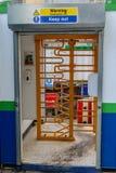 Kołowrót ochrony brama na budowie Zdjęcie Stock