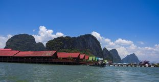 Ko Panyi, Thailand, March 2013, Village on the sea, Phang Nga Bay stock photos