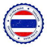 Ko Pha Ngan flag badge. Vintage travel stamp with circular text, stars and island flag inside it. Vector illustration Stock Images