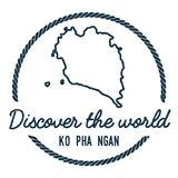 Ko Pha Ngan Map Outline. Vintage Discover the World Rubber Stamp with Island Map. Hipster Style Nautical Insignia, with Round Rope Border. Travel Vector Royalty Free Stock Photography