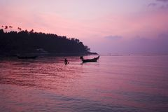 Ko Pha Ngan sunset. Colorful sunset over Ko Pha Ngan island viewed from Hat Salad Beach, Thailand Stock Photos