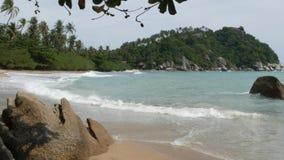 Πράσινος απότομος βράχος κοντά στην όμορφη θάλασσα Μεγαλοπρεπής μπλε θάλασσα που κυματίζει κοντά στον τραχύ πράσινο απότομο βράχο φιλμ μικρού μήκους