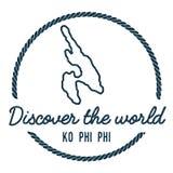 Ko Phi Phi Map Outline Photographie stock