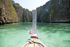 Ko phi phi island in thailand. Ko phi phi island in south thailand with longboat Royalty Free Stock Photography