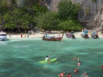 Ko Phi Phi Island in Thailand_01-24-2017. Full of tourists at the beach Stock Image