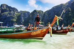 Typical Thai vessel used for tourists transport, moored on Ko Phi Phi Lee - Thailand. Ko Phi Phi Lee, Thailand July 06,2017 :Typical Thai vessel used for Stock Photo