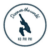 Ko Phi Phi map in vintage discover the world. Stock Photo
