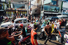 KO SAMUI, THAILAND - APRIL 13: Chaweng Main Road during the celebration of the water fight festival or Songkran Festival Royalty Free Stock Photography