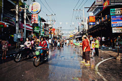 KO SAMUI, THAILAND - APRIL 13:Chaweng Main Road at the celebration of the water fight festival or Songkran Festival Stock Photos