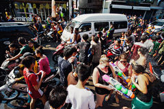 KO SAMUI, THAILAND - APRIL 13: Chaweng Main Road during the celebration of the water fight festival or Songkran Festival Stock Photos
