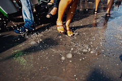 KO SAMUI, THAILAND - APRIL 13: Dance legs in a water fight festival or Songkran Festival Stock Photography