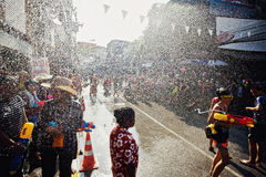 KO SAMUI, THAILAND - APRIL 13: Street water fight in a water fight festival or Songkran Festival Royalty Free Stock Photography