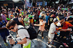KO SAMUI, THAILAND - APRIL 13:  Unidentified people at the celebration of the water fight festival or Songkran Festival (Thai Stock Photo