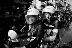 KO SAMUI, THAILAND - APRIL 13: Unidentified wet people on a bike on Songkran Festival (Thai New Year) Royalty Free Stock Images