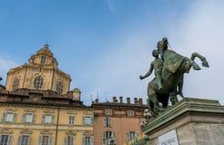Końska Equestrian statua w Turyn Zdjęcia Stock