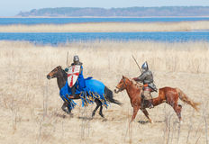 Koński rycerz w zbroi Zdjęcia Stock
