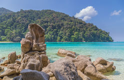 Ko Surin white sand beach and turquoise blue sea Thailand Royalty Free Stock Images