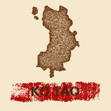 Ko Tao distressed map. Grunge patriotic poster with textured island ink stamp and roller paint mark, vector illustration Royalty Free Stock Photo