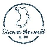Ko Tao Map Outline Le vintage découvrent le monde Images stock