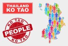 Ko Tao Map Population Demographics e selo Textured do selo ilustração royalty free