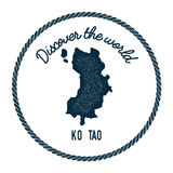 Ko Tao map in vintage discover the world insignia. Royalty Free Stock Image