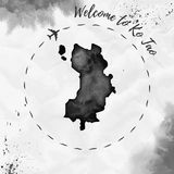 Ko Tao watercolor island map in black colors. Welcome to Ko Tao poster with airplane trace and handpainted watercolor Ko Tao map on crumpled paper. Vector Stock Photos