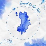Ko Tao watercolor island map in blue colors. Travel to Ko Tao poster with airplane trace and handpainted watercolor Ko Tao map on crumpled paper. Vector Stock Image