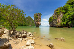Ko Tapu rock on the James Bond Island Royalty Free Stock Photos