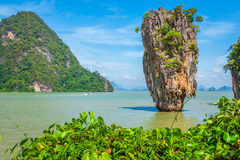 Ko Tapu rock on James Bond Island, Phang Nga Bay in Thailand Royalty Free Stock Photography