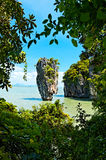Ko Tapu, Thailand. Ko Tapu or Khao Tapu island is a part of the Ao Phang Nga National Park and popularly called James Bond Island Stock Photos