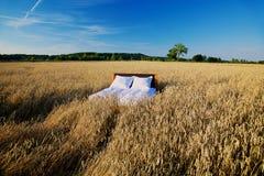 Łóżko w zbożowym pola pojęciu dobry sen Zdjęcie Stock