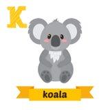 koala Επιστολή Κ Χαριτωμένο ζωικό αλφάβητο παιδιών μέσα αστείος απεικόνιση αποθεμάτων