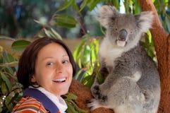 Koala. A girl and a koala in western Australia Royalty Free Stock Photo
