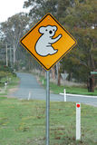 Koala ahead sign. A warning to drivers to beware of Koala's on the road in this area Stock Photography