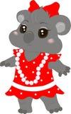 Koala baby girl. Vector illustration of a baby koala in a dress Royalty Free Stock Photo