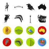 Koala on bamboo, boomerang, Sydney tower, fish clown and ammonium.Australia set collection icons in black,flet style. Vector symbol stock illustration Royalty Free Stock Image
