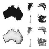 Koala on bamboo, boomerang, Sydney tower, fish clown and ammonium.Australia set collection icons in black,monochrom. Style vector symbol stock illustration Royalty Free Stock Photo