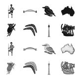 Koala on bamboo, boomerang, Sydney tower, fish clown and ammonium.Australia set collection icons in black,monochrome. Style vector symbol stock illustration Stock Photo