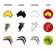 Koala on bamboo, boomerang, Sydney tower, fish clown and ammonium.Australia set collection icons in cartoon,black. Outline,flat style vector symbol stock Royalty Free Stock Image