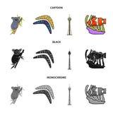 Koala on bamboo, boomerang, Sydney tower, fish clown and ammonium.Australia set collection icons in cartoon,black. Monochrome style vector symbol stock royalty free illustration