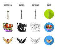 Koala on bamboo, boomerang, Sydney tower, fish clown and ammonium.Australia set collection icons in cartoon,black. Outline,flat style vector symbol stock Royalty Free Stock Images