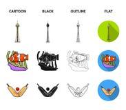 Koala on bamboo, boomerang, Sydney tower, fish clown and ammonium.Australia set collection icons in cartoon,black. Outline,flat style vector symbol stock royalty free illustration