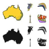 Koala on bamboo, boomerang, Sydney tower, fish clown and ammonium.Australia set collection icons in cartoon,black style. Vector symbol stock illustration Royalty Free Stock Images