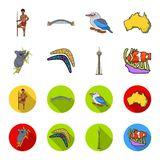 Koala on bamboo, boomerang, Sydney tower, fish clown and ammonium.Australia set collection icons in cartoon,flat style. Vector symbol stock illustration Royalty Free Stock Images