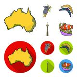 Koala on bamboo, boomerang, Sydney tower, fish clown and ammonium.Australia set collection icons in cartoon,flat style. Vector symbol stock illustration vector illustration