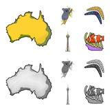 Koala on bamboo, boomerang, Sydney tower, fish clown and ammonium.Australia set collection icons in cartoon,monochrome. Style vector symbol stock illustration stock illustration