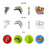 Koala on bamboo, boomerang, Sydney tower, fish clown and ammonium.Australia set collection icons in cartoon,outline,flat. Style vector symbol stock illustration stock illustration
