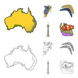 Koala on bamboo, boomerang, Sydney tower, fish clown and ammonium.Australia set collection icons in cartoon,outline. Style vector symbol stock illustration Royalty Free Stock Photos