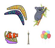 Koala on bamboo, boomerang, Sydney tower, fish clown and ammonium.Australia set collection icons in cartoon style vector. Symbol stock illustration Stock Photo